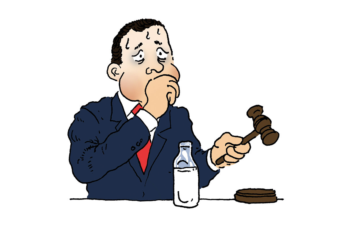 Cartoon of man in suit holding a gavel, sweating, with his hand over his moutn, with a bottle of milk in front of him