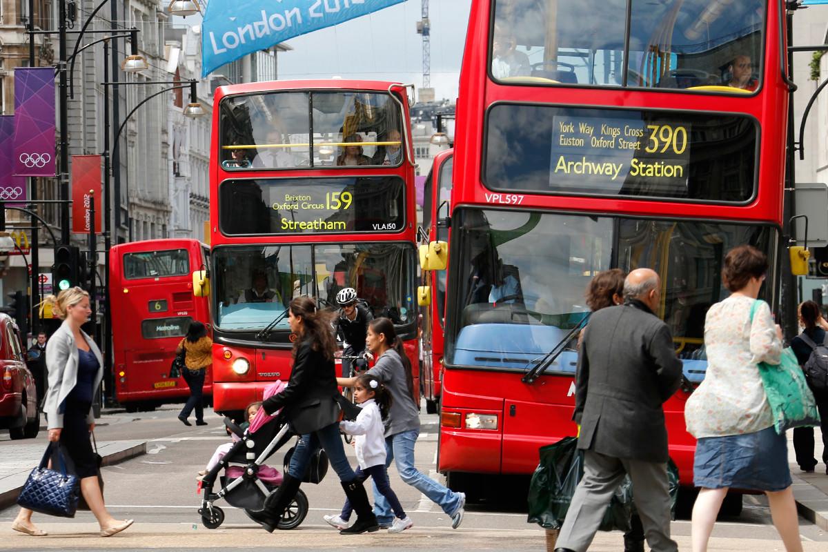 Buses along Oxford Street