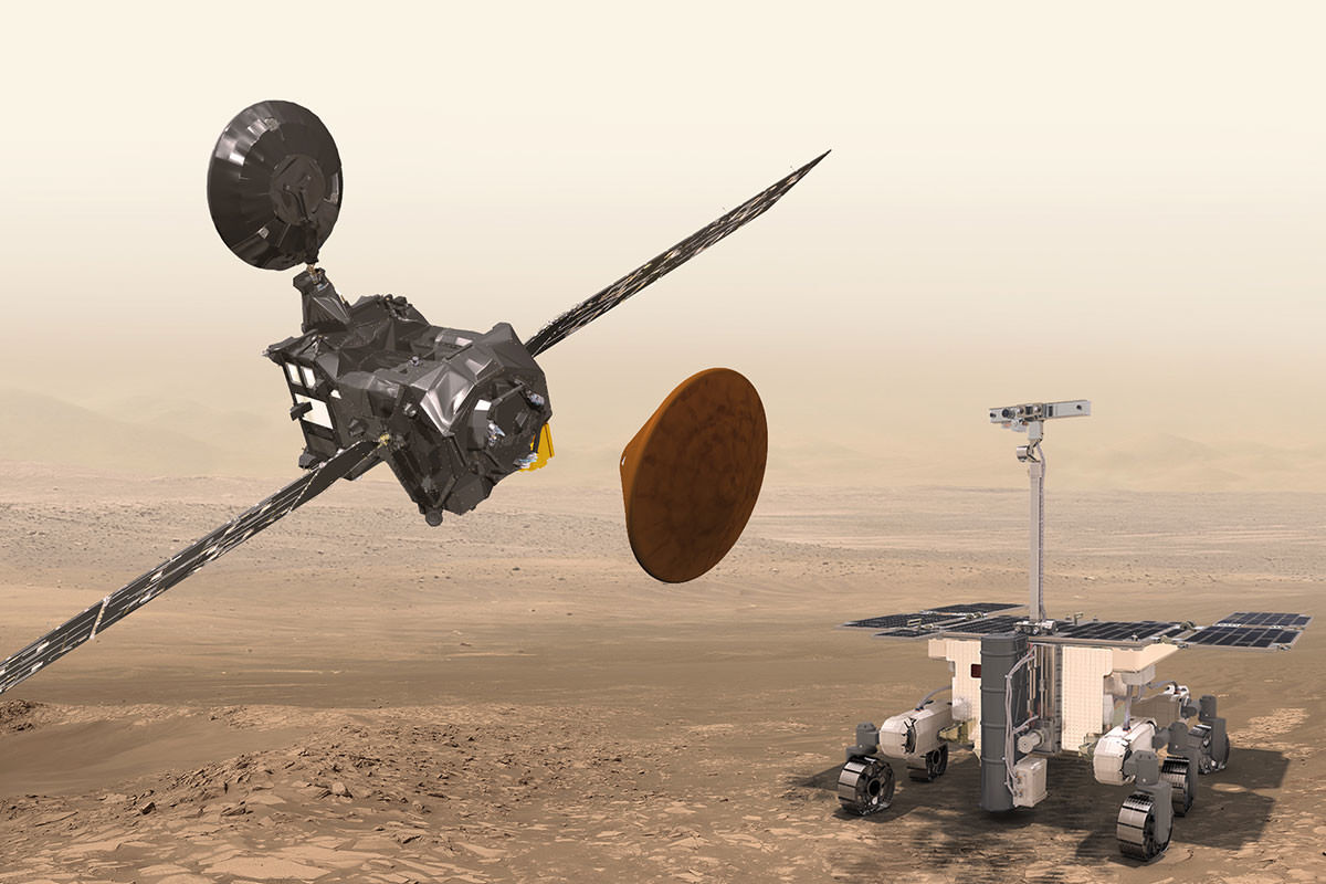Artist's impression of the Trace Gas Orbiter flying above the ExoMars rover