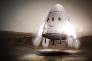 Artist's impression of Dragon 2 capsule landing on Mars