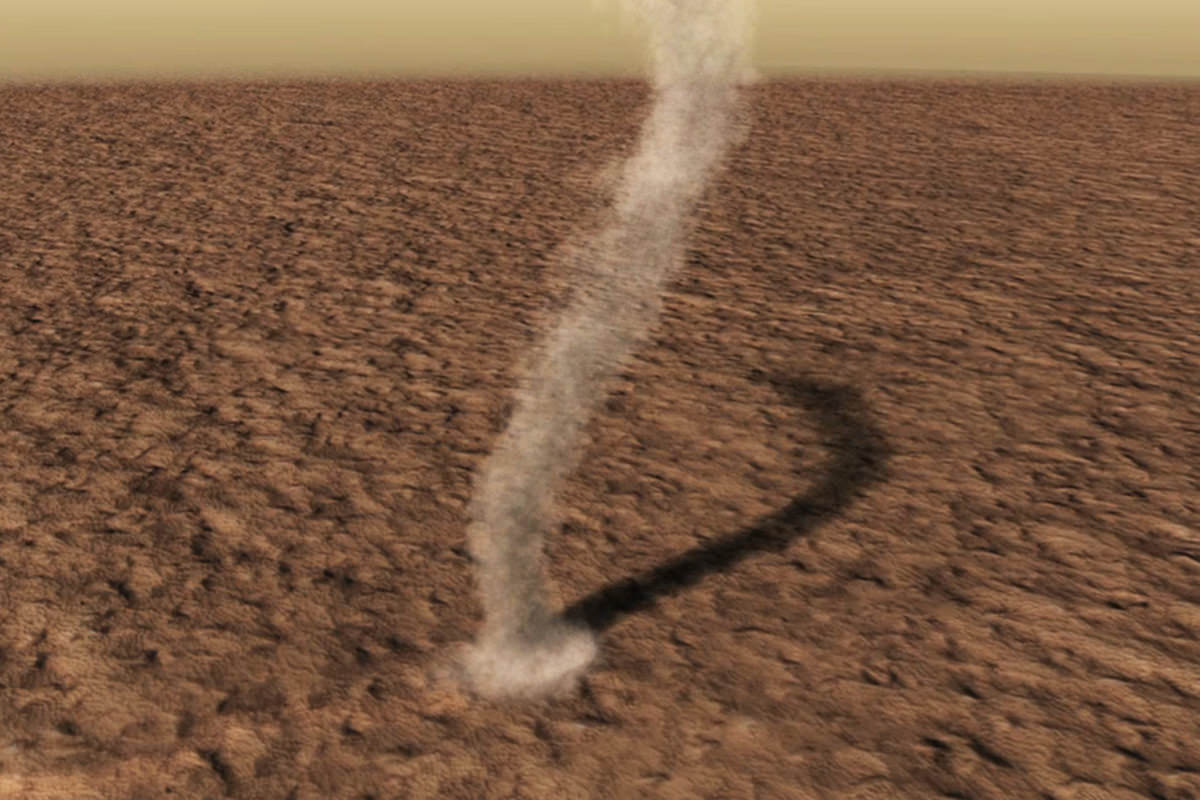 12-mile high dust devil on Mars photographed in 2012