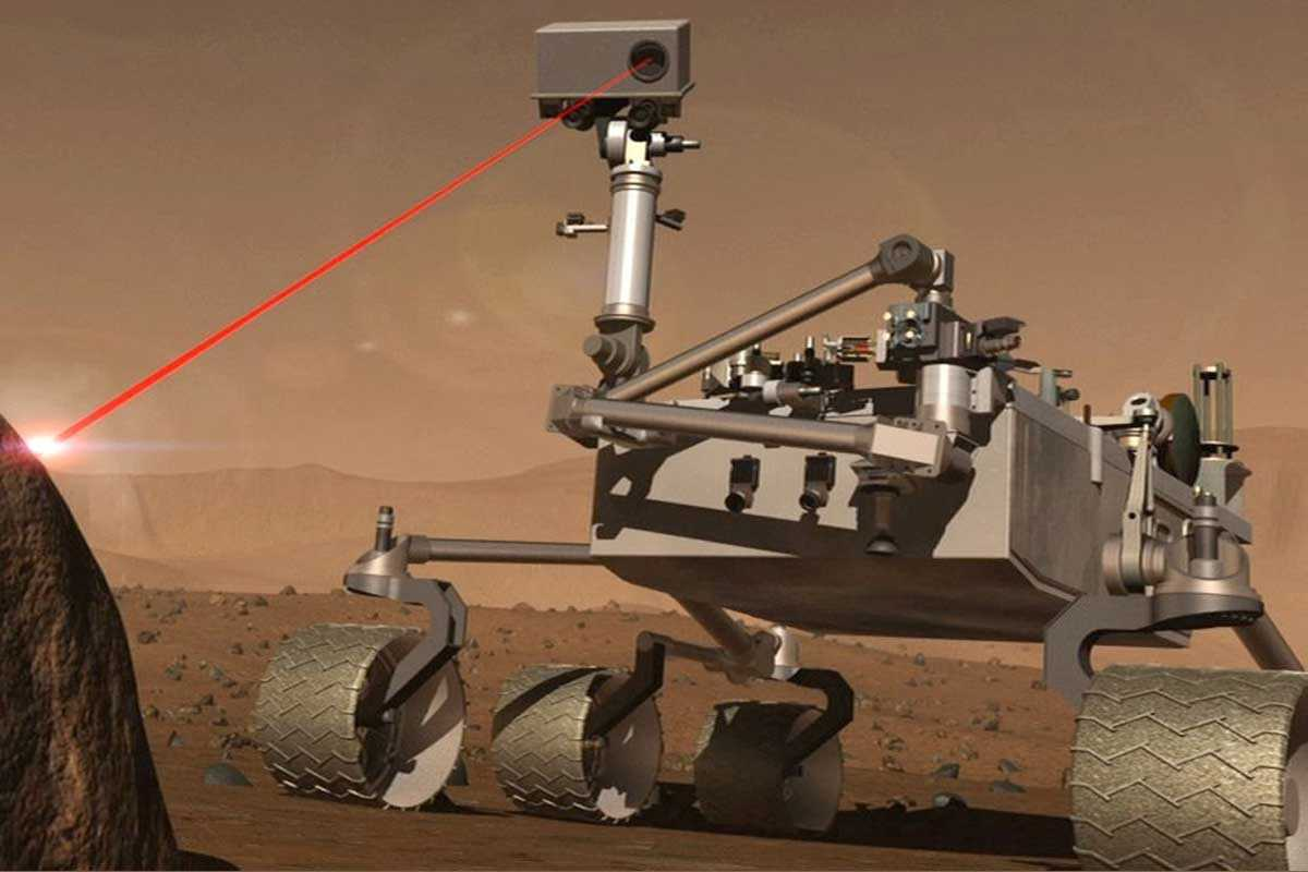 Curiosity rover artwork - with it shining a red laser out of its 'eye'