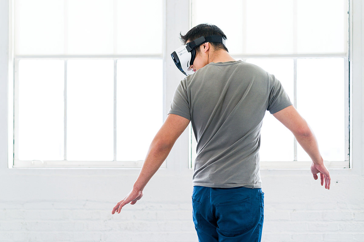 Man wearing VR headset