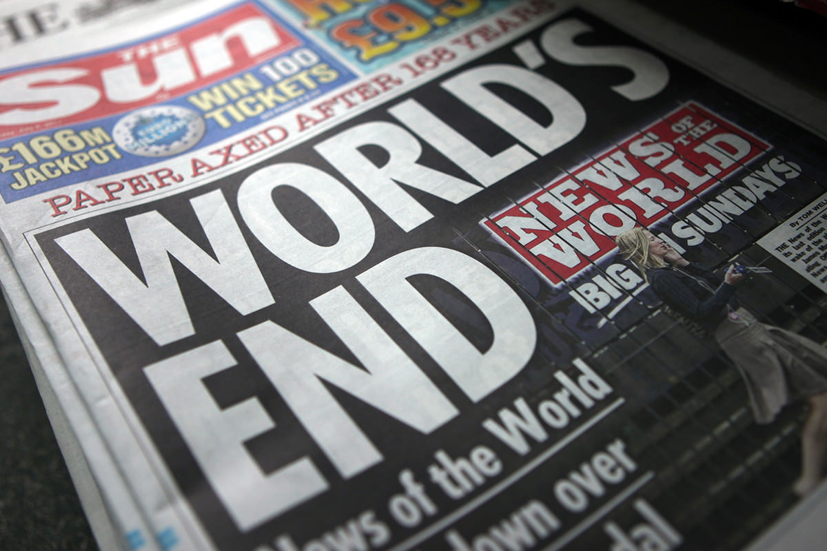 Front page of The Sun newspaper, headlined 'World's end'