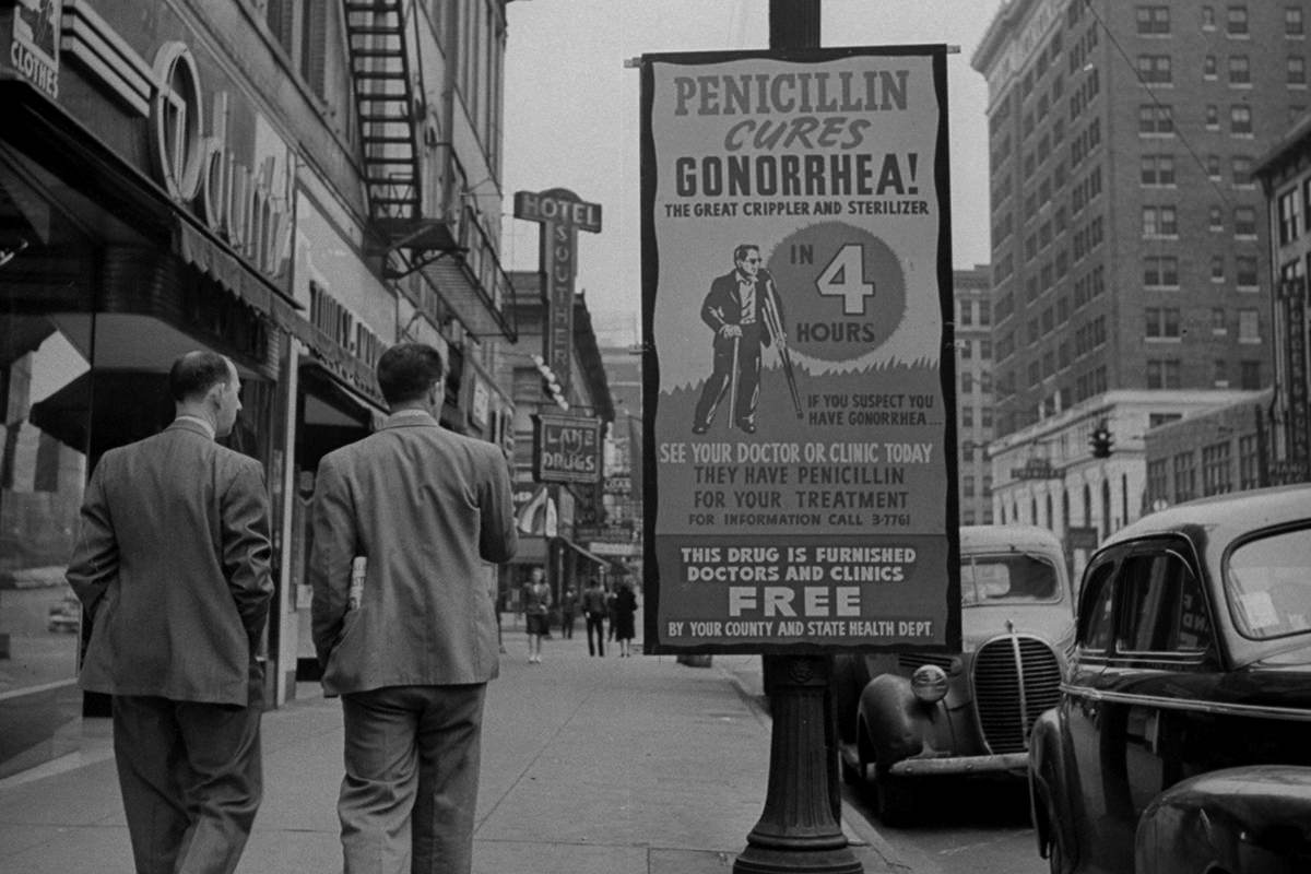 An old sign advertising pencillin as treatment for gonorrhea
