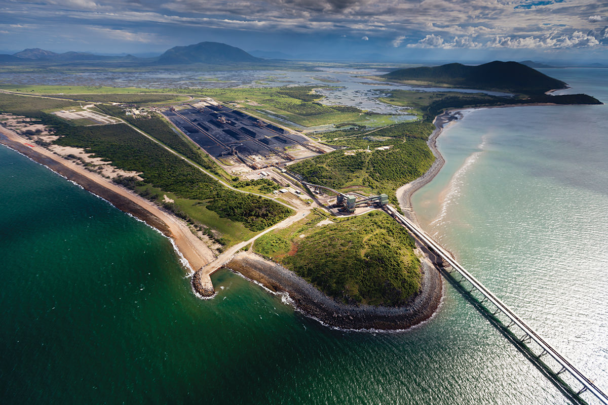 aerial view of abbot point in queensland australia