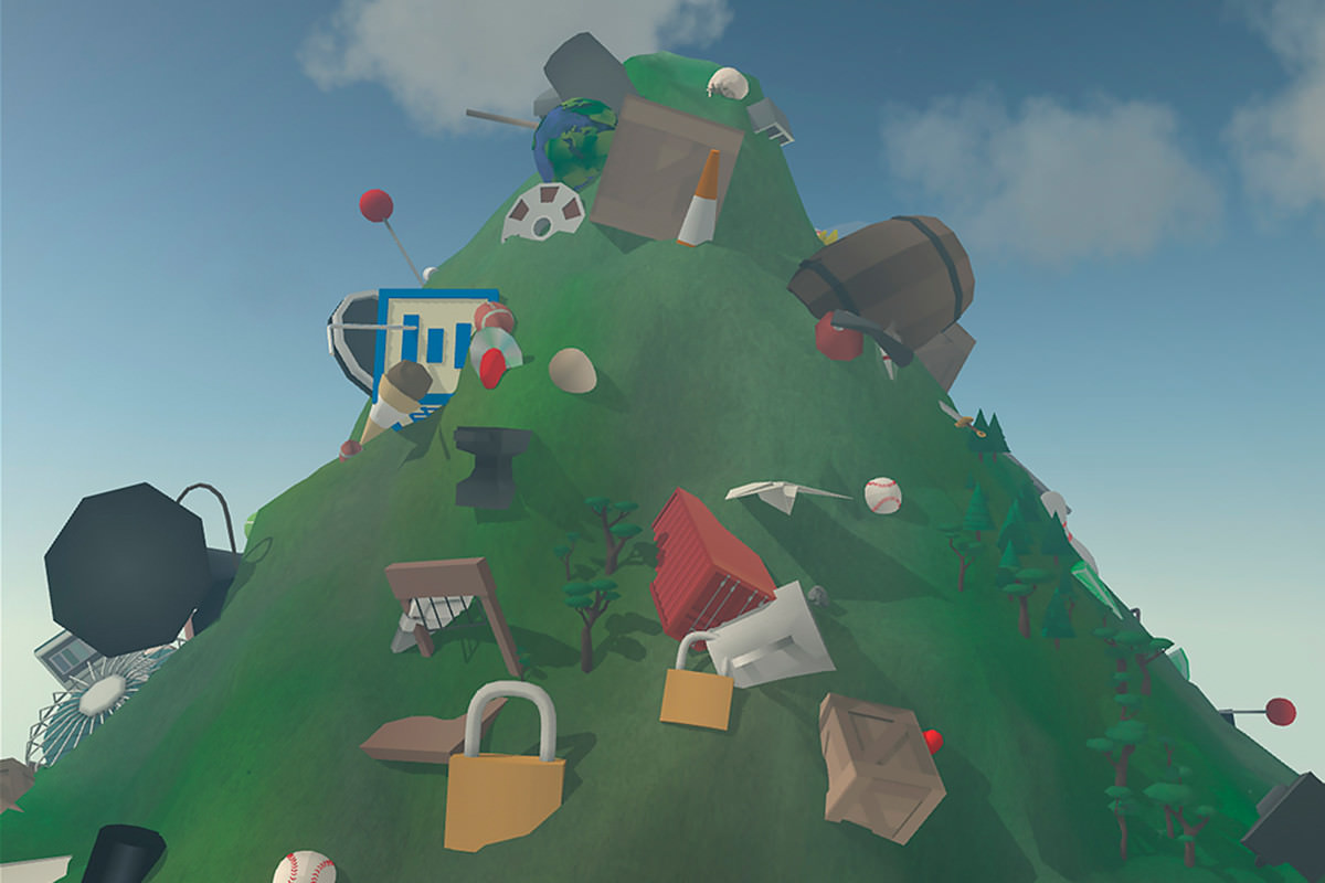 Another scene from Mountain, showing various objects apparently embedded in the mountainside