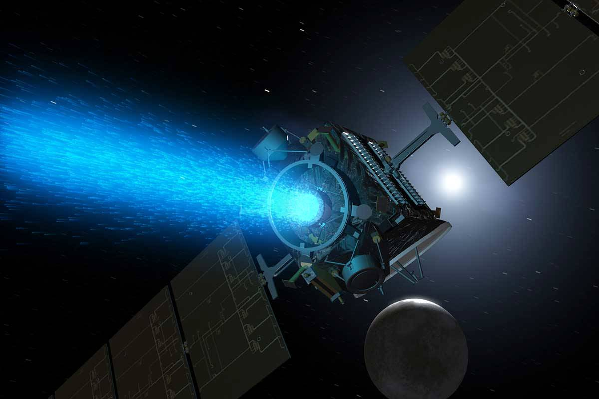 Dawn probe with beam of blue light come from the front
