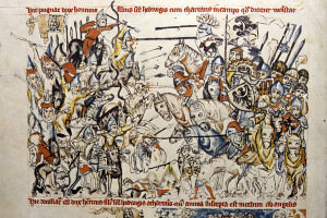 Illustration with calligraphy top and bottom showing two medieval armies facing off