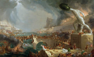 The Course of Empire: Destruction, 1836 (oil on canvas) by Cole, Thomas (1801-48); 100x161.2 cm