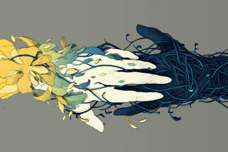 hands touching illustration
