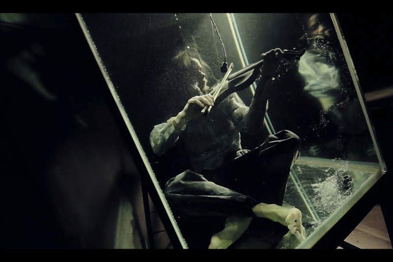 """Someone underwater. I think they are """"playing"""" a sort of """"violin"""", but it's a dark picture and hard to tell"""