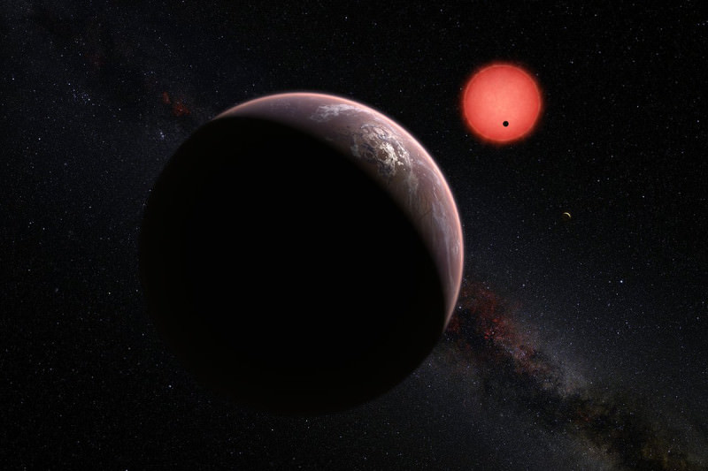 Artist's impression of trappist-1 exoplanet system