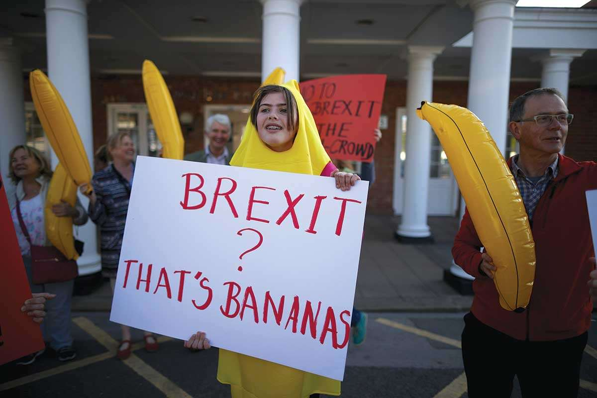 "Woman dressed as a banana holding sign saying ""Brexit? That's bananas"""