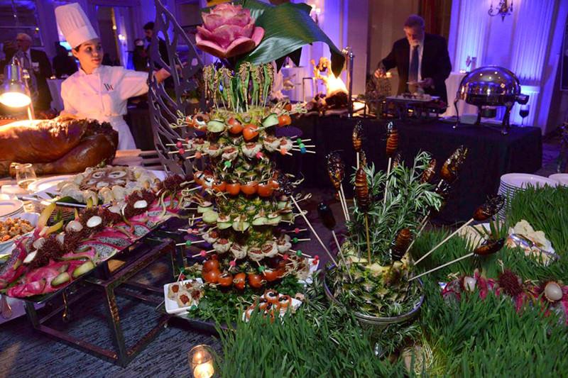 An exotic, colourful buffet arrangement