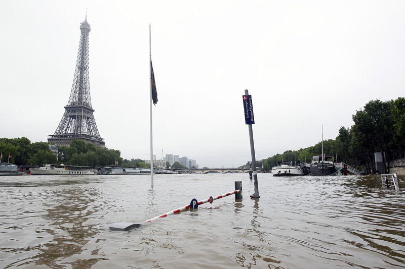 Flood waters surrounding the Eiffel tower