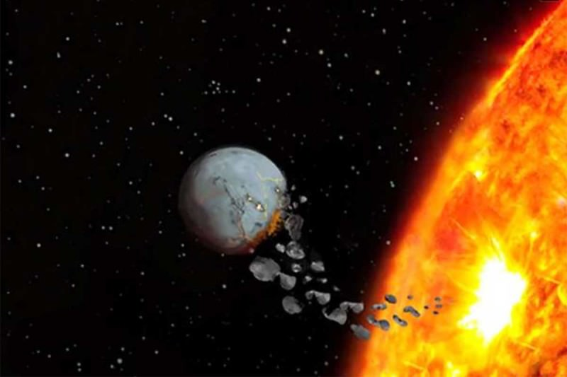 Artist's impression of a star eating a planet