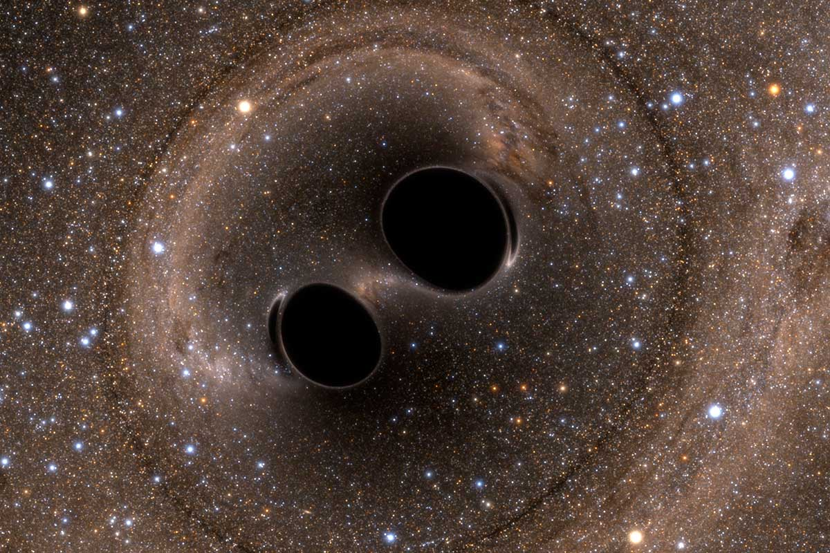 Image of a simulated black hole merger