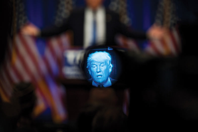 Trump face on screen