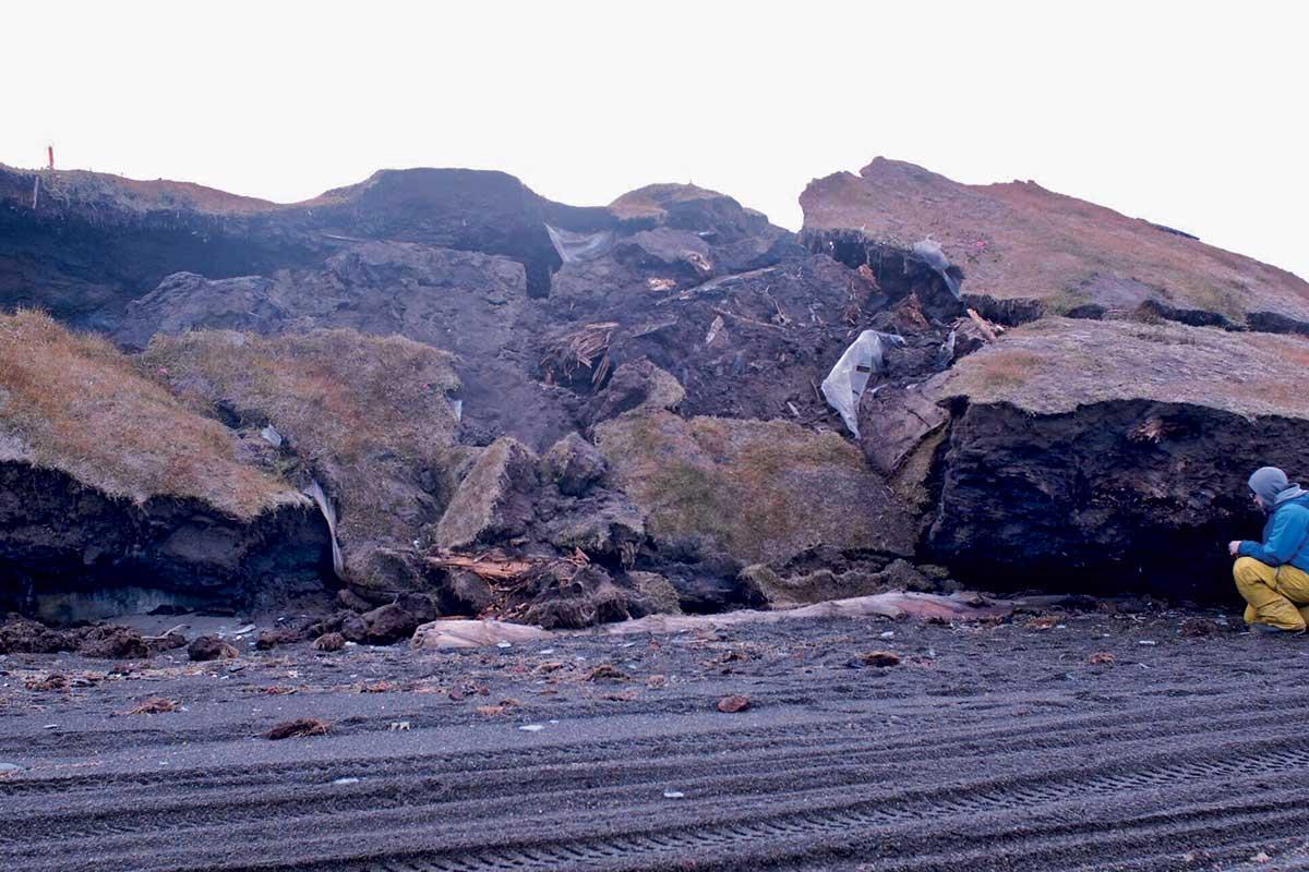 Crumbling slope at Walakpa Bay, northern Alaska