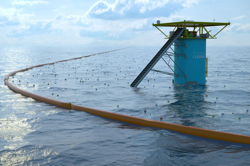 Artist's impression of future Ocean Cleanup set-up