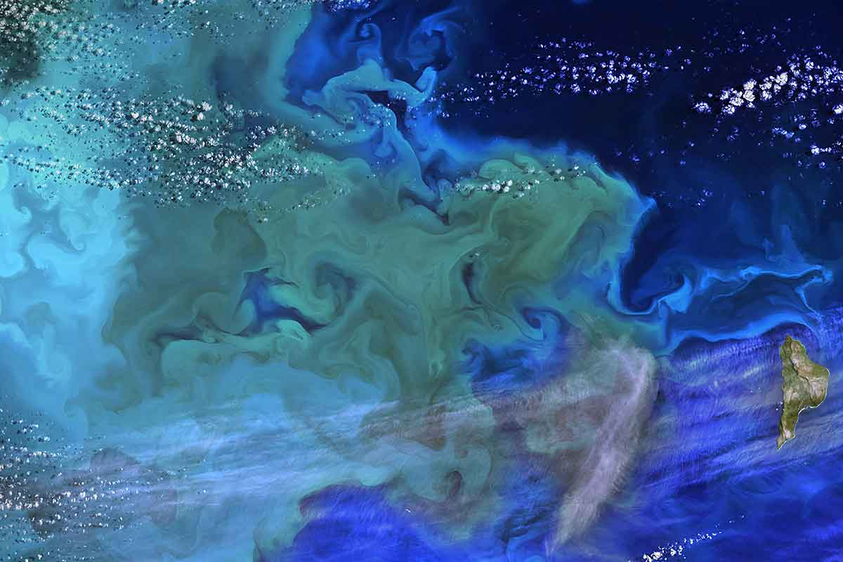 Aerial shot of phytoplankton bloom