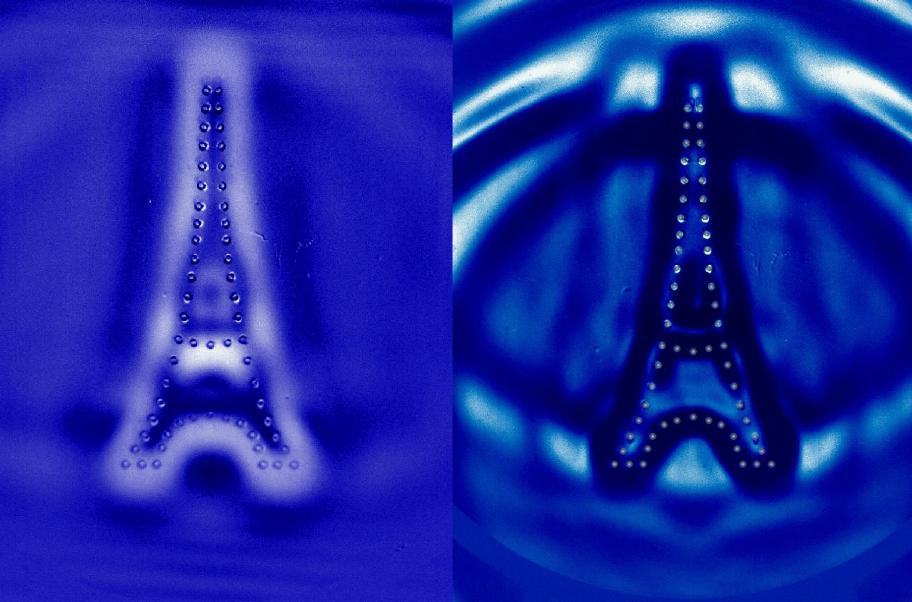 Ripples in the water returned exactly to their start point - the shape of the Eiffel Tower
