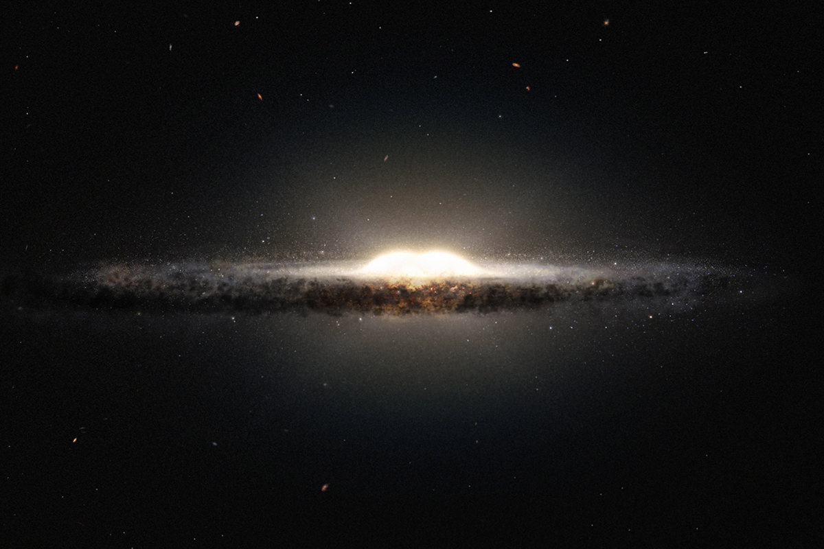 An artist's impression of the bulge in the Milky Way.