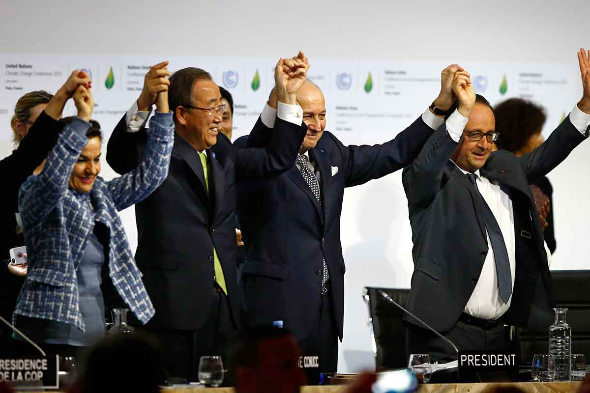 Leaders celebrate striking a deal in Paris