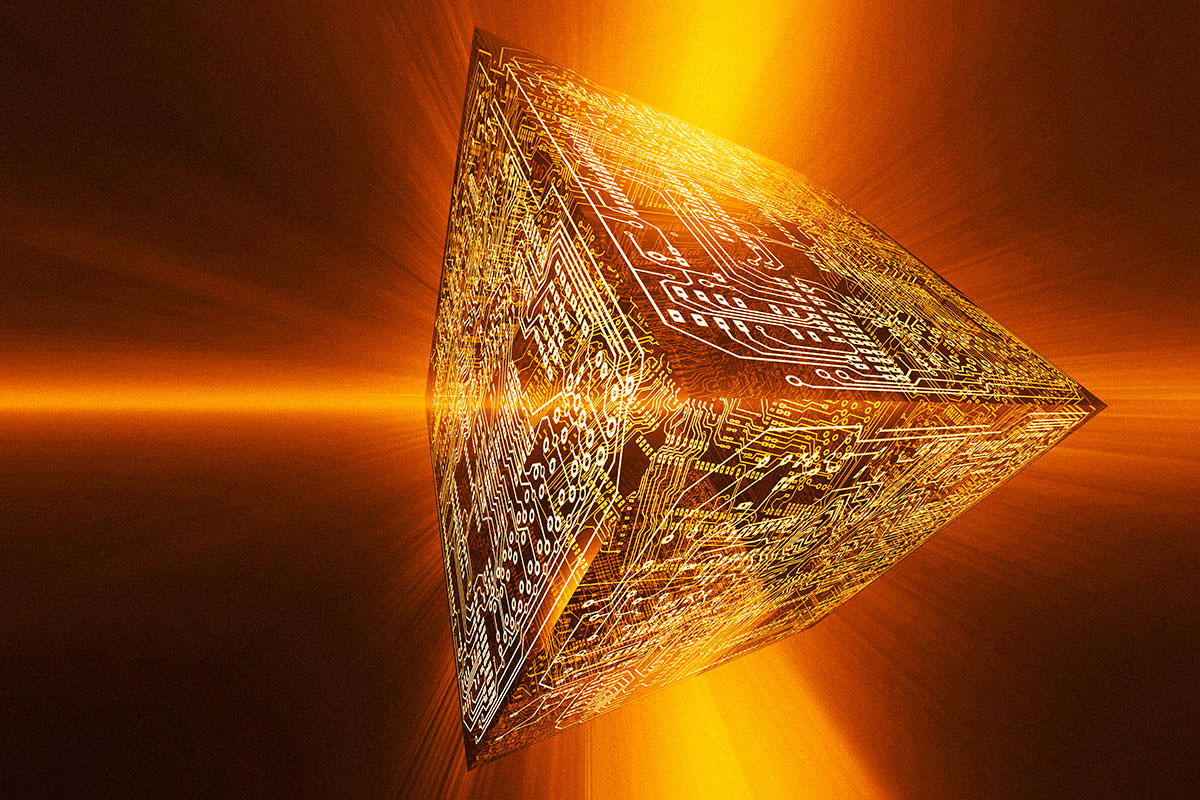 Artwork showing a cube bearing circuitry and with light beams apparently playing on it