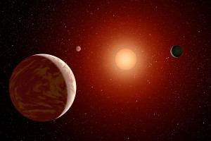 artist's impression of planets around a red dwarf star