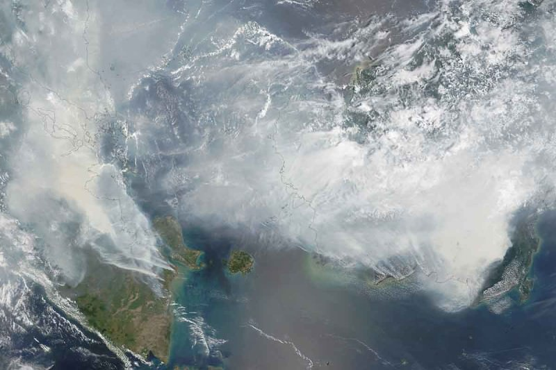 Smoke over Sumatra and Borneo