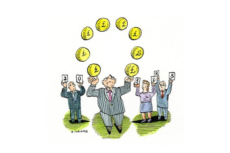 cartoon juggling money bags