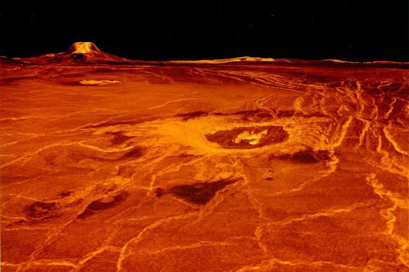 A red landscape on the surface of Venus