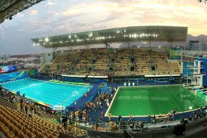 The Rio Olympic pools - one is green, one is blue