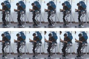 A paralysed man trains using apparatus that is connected to his brain