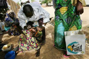 A girl being vaccinated against polio in Nigeria
