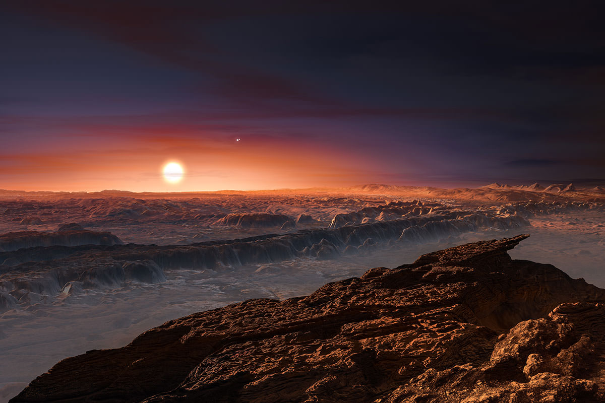 Artist's impression of sunrise on another world