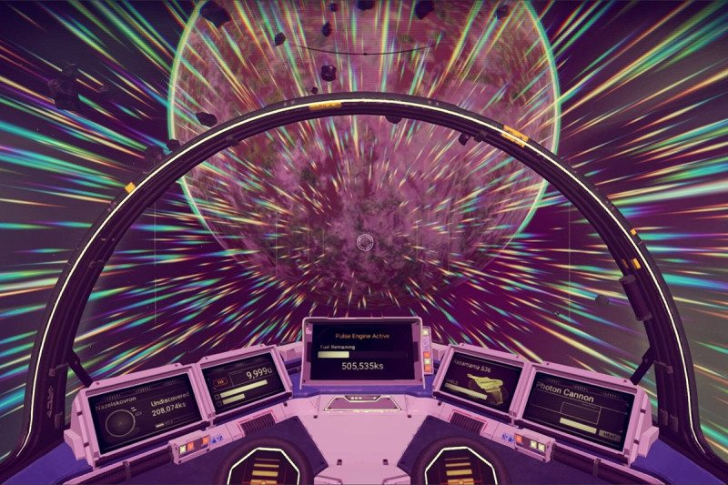 View from the cockpit of a spaceship in the game, travelling between worlds