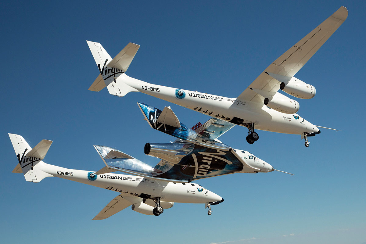 Virgin Galactic's WhiteKnightTwo and SpaceShipTwo in flight