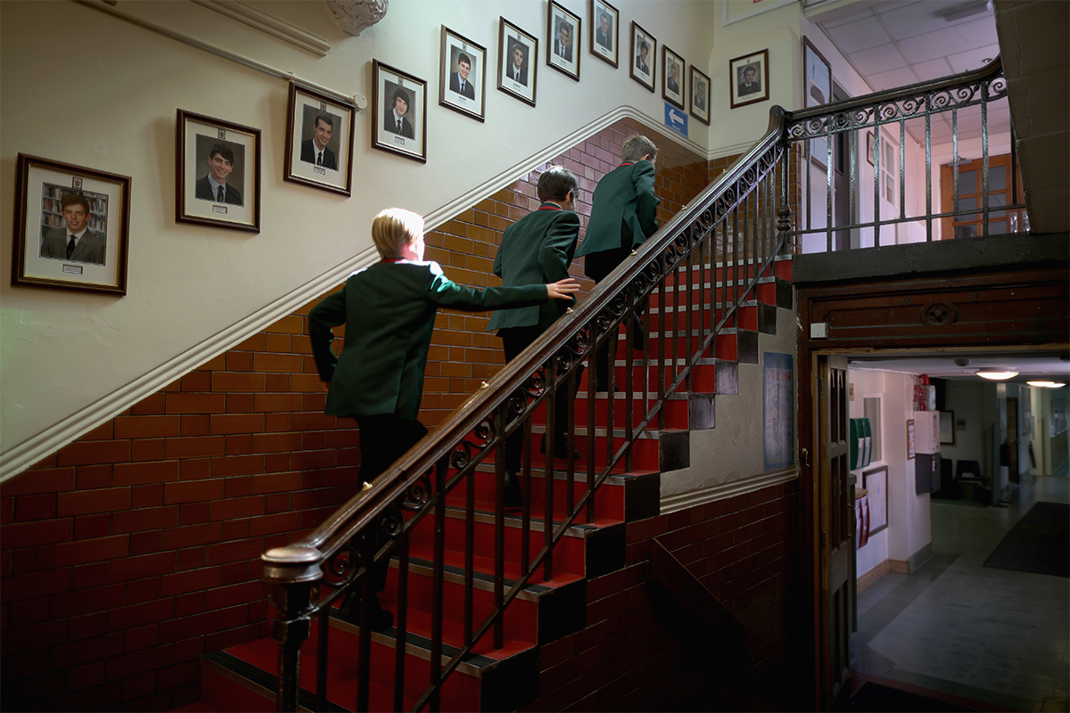 Children on the stairs in a school