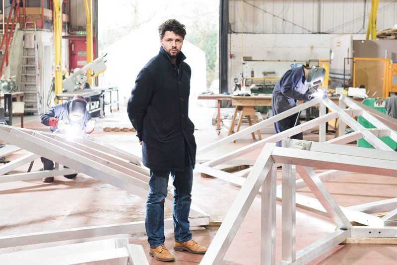 Conrad Shawcross in his studio