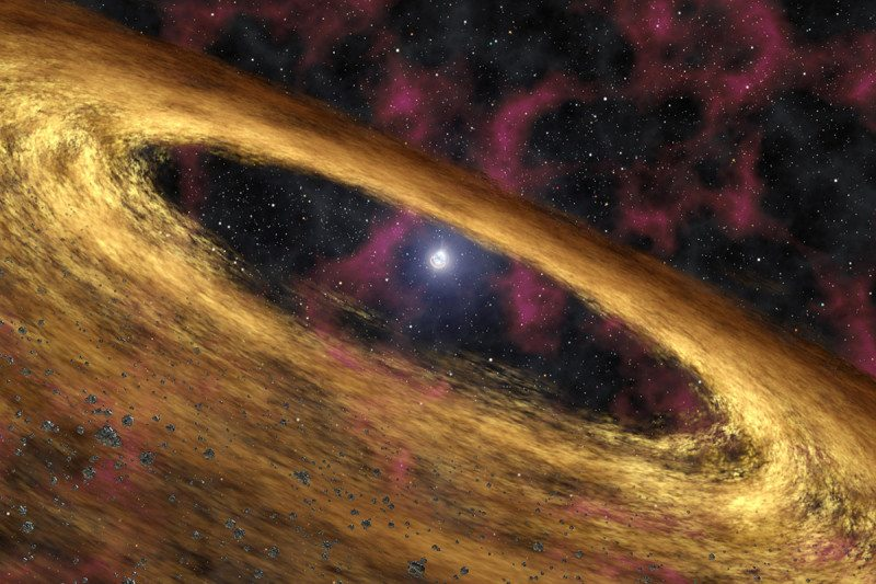 Artist's depiction of a pulsar approaching a disc of rubble