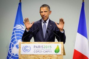 Obama at Paris 2015 lectern