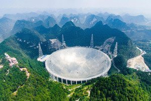 Aerial view of the 500-metre-wide telescope dish