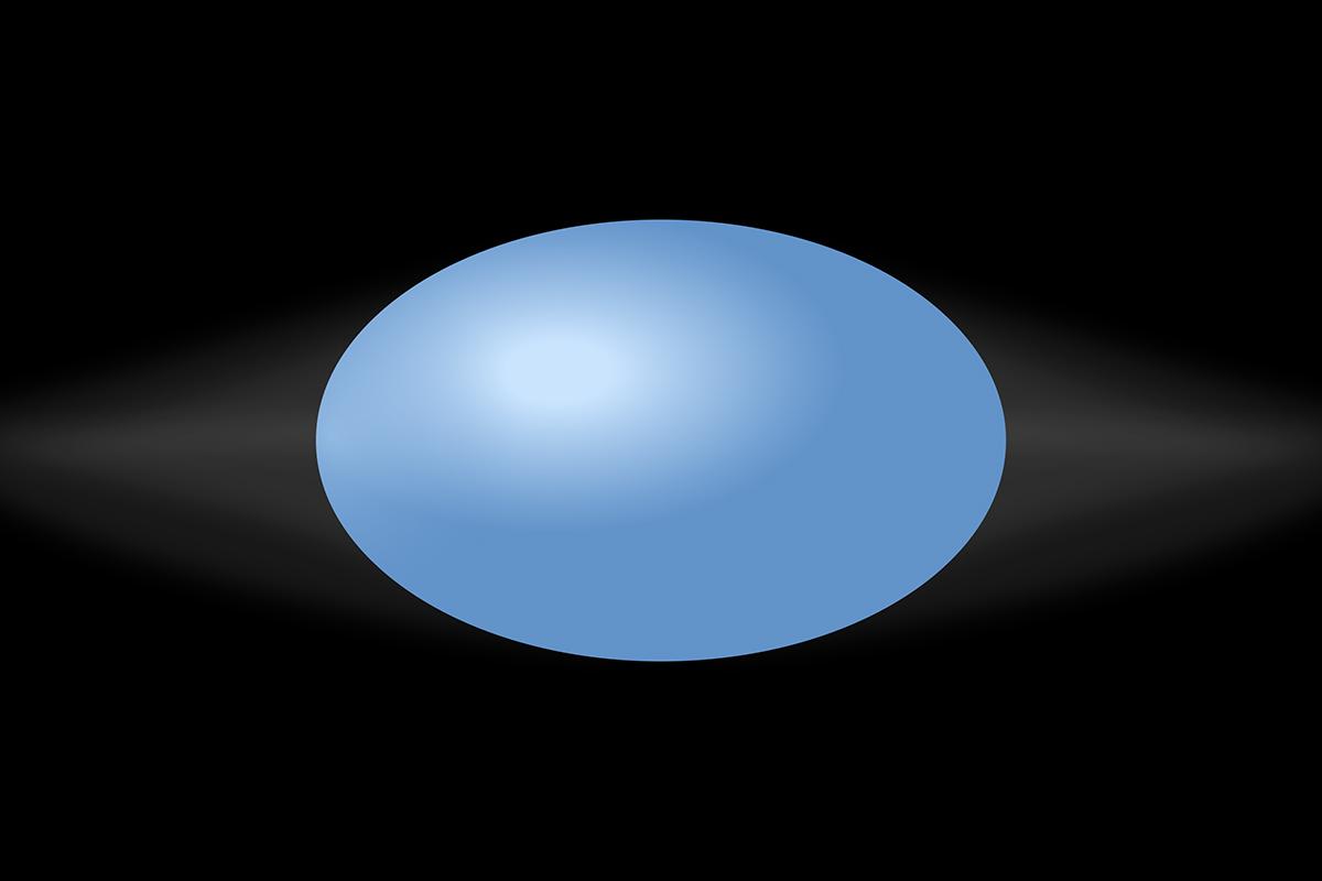 Flattened blue globe