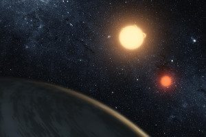 Hypothetical view of an exoplanet with two suns