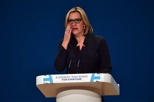 Home Secretary Amber Rudd delivering a speech