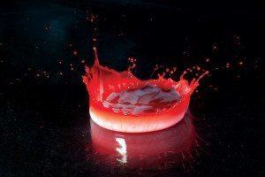 Red-tinged droplet splattering
