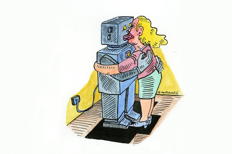 Cartoon woman kissing robot
